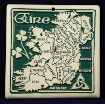 trivet with the map of ireland and counties